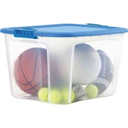 BELLA 71 QT Container, Clear with Blue Lid