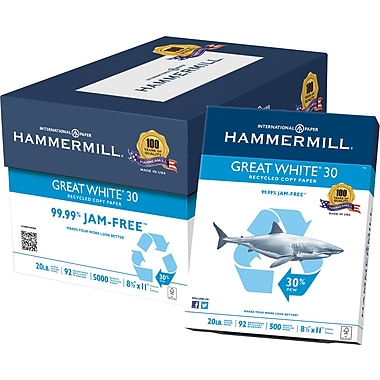 Hammermill® – Papier à copies Great White® 30, certifié FSC, 20 lb, brillance 92, recyclé à 30 %, 8 1/2 po x 11 po, bte/5000