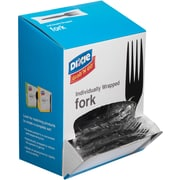 Dixie® Grab N Go Individually Wrapped Forks, Black, 90/box