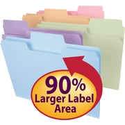 Smead® SuperTab® File Folder, Oversized 1/3-Cut Tab, Letter Size, Assorted Colors 100/Box (11961)