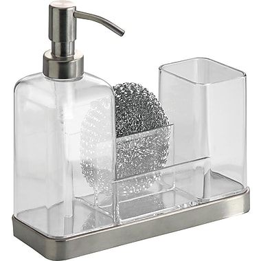 InterDesign® Forma Houseware Soap and Brush Caddy, Clear/Brushed Stainless Steel