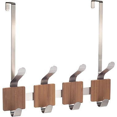 InterDesign® Formbu Over The Door 4 Double Hook Rack, Bamboo/Brushed Stainless Steel