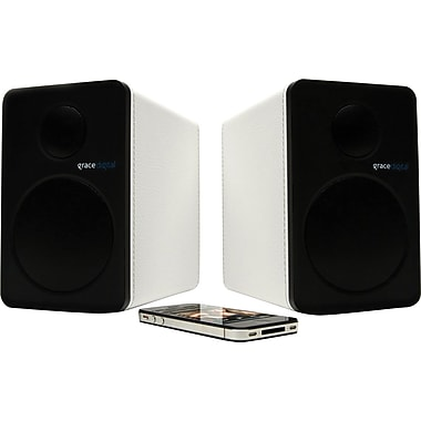 Grace Digital GDI-BTSP208 - aptX Powered Bookshelf Bluetooth Speakers, White