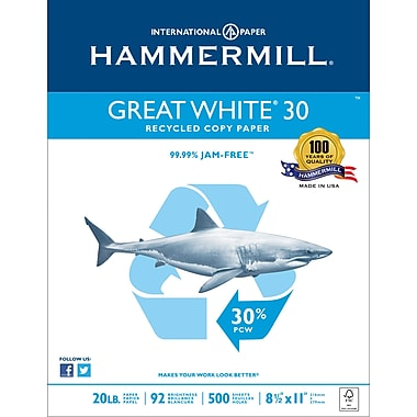 Hammermill® Great White® 30 Copy FSC-Certified Paper, 20 lb., 92 Bright, 30% Recycled, 8.5