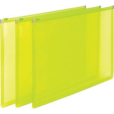 Poppin Neon Green Set of 3 Zip Folios