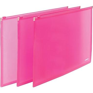 Poppin Neon Pink Set of 3 Zip Folios