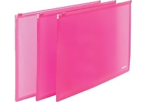 Poppin Neon Pink Set of 3 Zip Folios