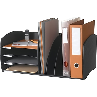 Paperflow PPF3020.01 Desktop Organizer with 4 level letter tray and 3 slot vertical filing, Black
