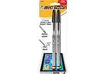 BIC® Tech Cristal® 2-in-1 Ballpoint Pen and Stylus, Medium Point 1.0mm, Black Ink, 2/Pack