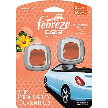 Febreze® Car Vent Clips Air Fresheners, Hawaiian Aloha, 2/Pack