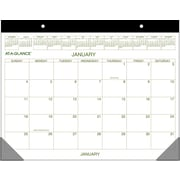 AT-A-GLANCE 2015 Recycled 1-Page-Per-Month Calendar, Jan.-Dec., Green and Brown, Desk Pad, 22 x 17