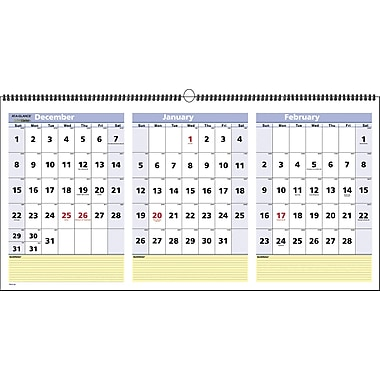 "2015 AT-A-GLANCE3-Month View Wall Calendar, 23 1/2"" x 12"" 
