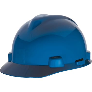 MSA Safety® V-Gard® Slotted Protective Caps and Hard Hats, Polyethylene, Cap, Standard, Blue