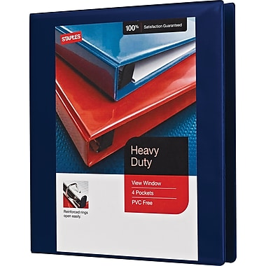Staples® Heavy-Duty View Binder with D-Rings, 1