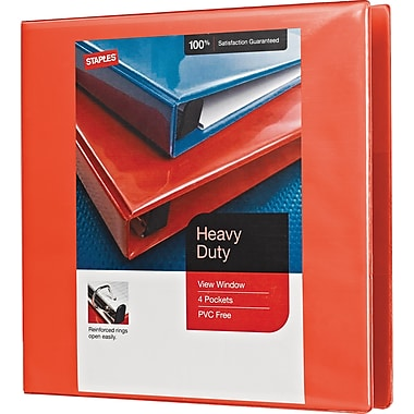 1-1/2in. Staples® Heavy-Duty View Binder with D-Rings, Orange
