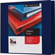 Staples Heavy-Duty 4-Inch D 3-Ring View Binder, Navy Blue (26372)