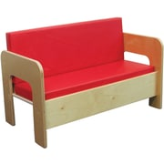 "Wood Designs™ Dramatic Play 20"" x 30"" x 16"" Vinyl Reversible Cushions Sofa, Birch/Red Cushion"