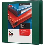 "3"" Staples® Heavy-Duty View Binders with D-Rings, Green"