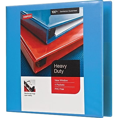 Staples Heavy-Duty 2-Inch D 3-Ring View Binder, Light Blue (26350)
