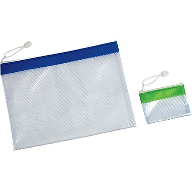 1 of Zip Mesh Envelope, 9.75 x 12.625 - Blue, 1 of Zip Mesh Envelope, 3.375x5 - Green Nested together in 2 pk