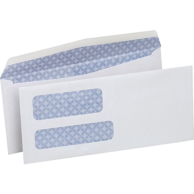 Staples® Envelopes White Double Window Security #9, 3-7/8