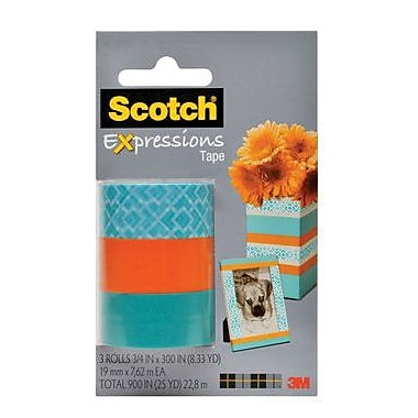 Scotch® Expressions Magic™ Tape, 19 mm x 7.62 m, Classic Triangle, Orange, Turquoise, 3/Pack