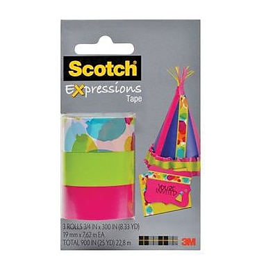 Scotch® Expressions Magic™ Tape, 19 mm x 7.62 m, Watercolour, Pink, Lime Green, 3/Pack