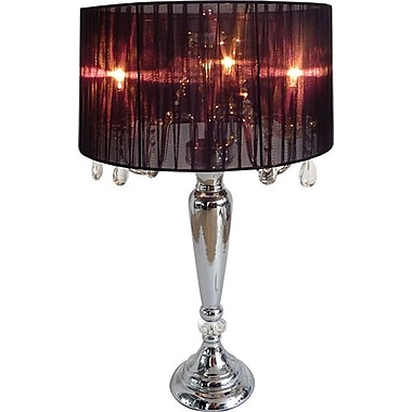 Elegant Designs Trendy Sheer Black Shade Table Lamp With Hanging Crystals, Chrome Finish