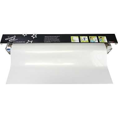 "Wizard Wall 13"" System, Dry Erase Static Cling Film, White, 13"" x 25 ft"