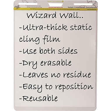 Wizard Wall Easel Pads, Dry Erase Static Cling Film, White, 15 Sheet Pads, 2 pads/pack