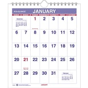 "2016 AT-A-GLANCE® Mini Monthly Wall Calendar, 6 1/2'' x 7 1/2"", White/Blue/Red, (PM5-28)"