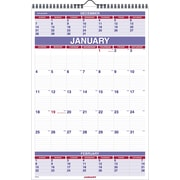 "2016 AT-A-GLANCE Three-Month Wall Calendar, 15 1/2'' x 22 3/4"", White/Blue, (PM6-28)"