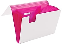 Poppin White + Pink 13-Pocket Accordion File (100148)