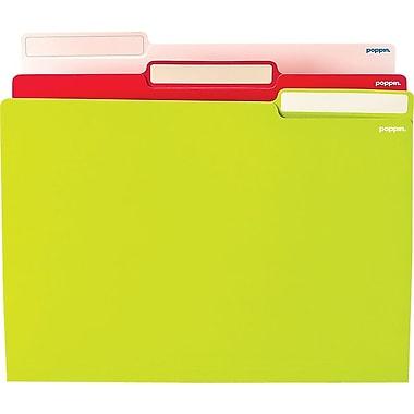 Poppin White/Pink/Lime Letter File Folders, 24/Pack
