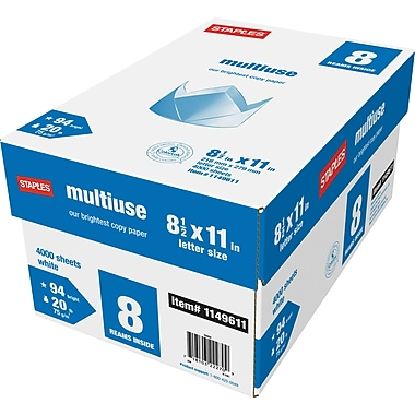 Staples® Multiuse Copy Paper, 8 1/2