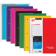 Staples® Poly Cover Wirebound Notebook, College Ruled, Assorted Colors, 8 x 10-1/2