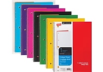 Staples® Poly Cover Wirebound Notebook, College Ruled, Assorted Colors, 8' x 10-1/2'