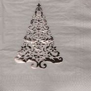 Creative Converting Glitz Silver 3-Ply Beverage Napkins with Christmas Tree Design, 16/Pack