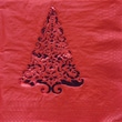 Creative Converting Glitz Red 3-Ply Beverage Napkins with Christmas Tree Design, 16/Pack