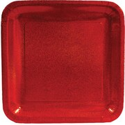 "Creative Converting Glitz Red 10"" Square Banquet Plates, 8/Pack"