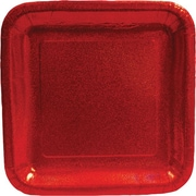 "Creative Converting Glitz Red 9"" Square Dinner Plates, 8/Pack"