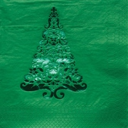 Creative Converting Glitz Green 3-Ply Beverage Napkins with Christmas Tree Design, 16/Pack