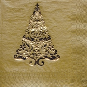 Creative Converting Glitz Gold 3-Ply Luncheon Napkins with Christmas Tree Design, 16/Pack