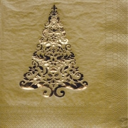Creative Converting Glitz Gold 3-Ply Beverage Napkins with Christmas Tree Design, 16/Pack