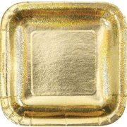 "Creative Converting Glitz Gold 10"" Square Banquet Plates, 8/Pack"