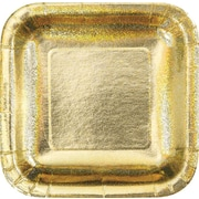 "Creative Converting Glitz Gold 7"" Square Luncheon Plates, 8/Pack"