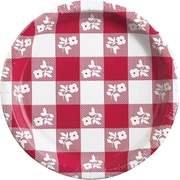 "Creative Converting Red Gingham 9"" Round Dinner Plates, 25/Pack"
