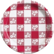 "Creative Converting Red Gingham 9"" Round Dinner Plates, 8/Pack"