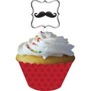 "Creative Converting 4""W x 11.5""H Mustache Madness Cupcake Wrappers with Picks"