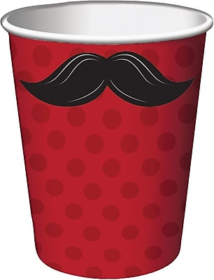 Creative Converting Mustache Madness 9 oz. Hot/Cold Drink Cups, 8/Pack 1005712